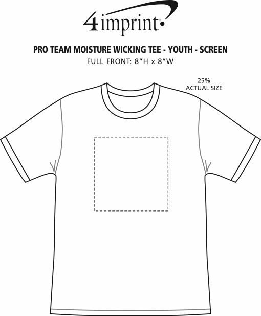 Imprint Area of Pro Team Moisture Wicking Tee - Youth - Screen