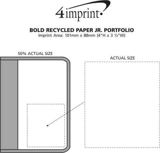 Imprint Area of Bold Recycled Paper Jr. Portfolio w/Notepad - Closeout