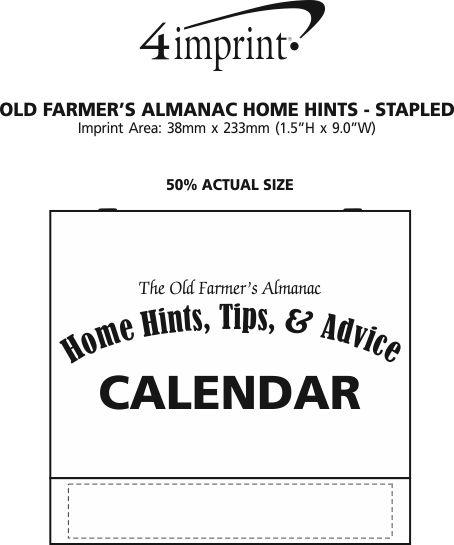 Imprint Area of The Old Farmer's Almanac Calendar - Home Hints - Stapled