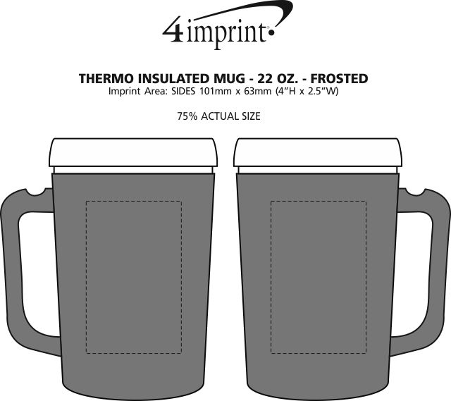 Imprint Area of Thermo Insulated Mug - 22 oz. - Frosted