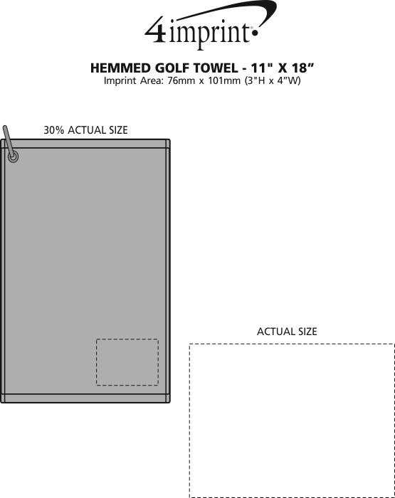 "Imprint Area of Hemmed Golf Towel - 11"" x 18"""