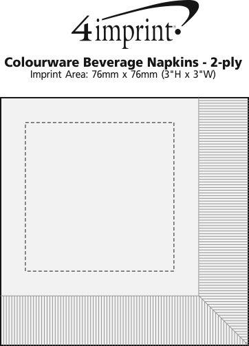 Imprint Area of Colourware Beverage Napkins - 2-ply