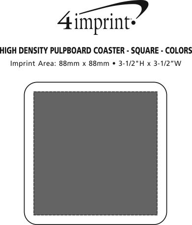"Imprint Area of High-Density Pulpboard Coaster - 4"" Square - Colour"