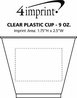 Imprint Area of Clear Plastic Cup - 9 oz.