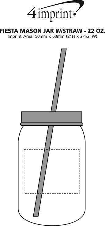Imprint Area of Fiesta Mason Jar with Straw - 22 oz.