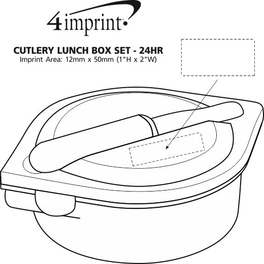 Imprint Area of Cutlery Lunch Box Set - 24 hr