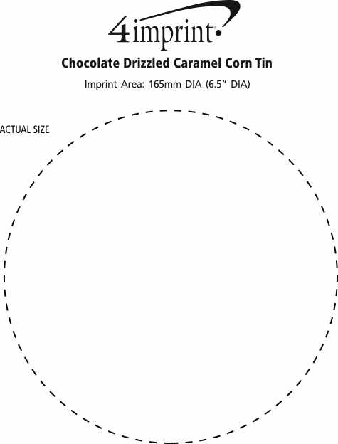 Imprint Area of Chocolate Drizzled Caramel Corn Tin
