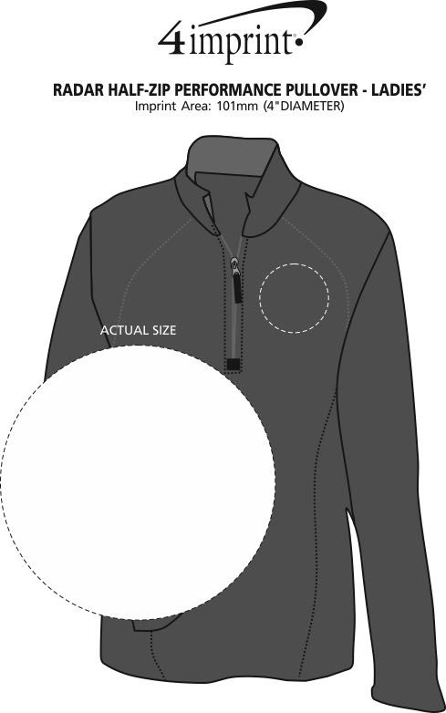 Imprint Area of Radar 1/2-Zip Performance Pullover - Ladies'