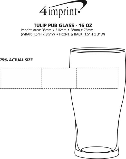 Imprint Area of Tulip Pub Glass - 16 oz.