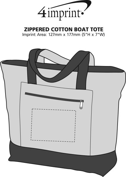 Imprint Area of Zippered Cotton Boat Tote