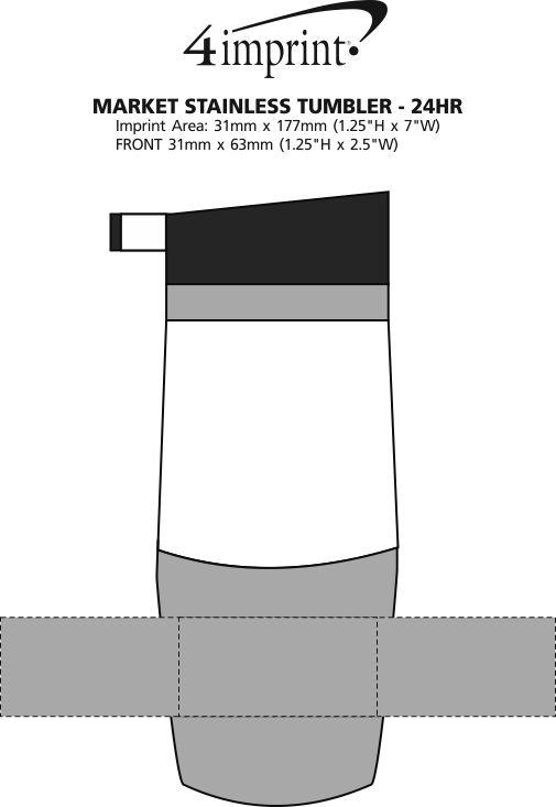 Imprint Area of Market Stainless Tumbler - 14 oz. - 24 hr