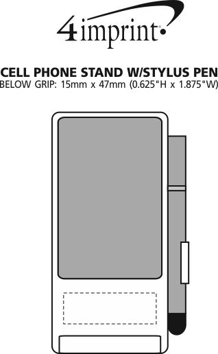Imprint Area of Cell Phone Stand with Stylus Pen