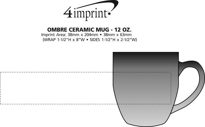 Imprint Area of Ombre Ceramic Mug - 12 oz.