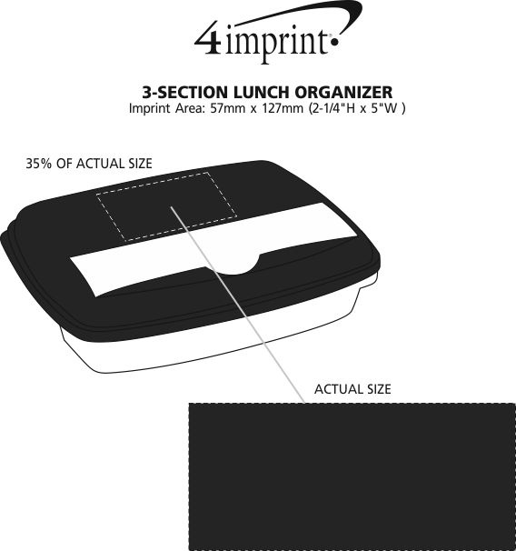 Imprint Area of 3-Section Lunch Container