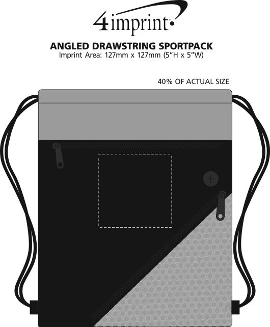 Imprint Area of Angled Drawstring Sportpack - Closeout