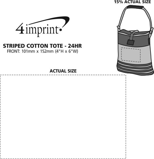 Imprint Area of Striped Cotton Tote - 24 hr