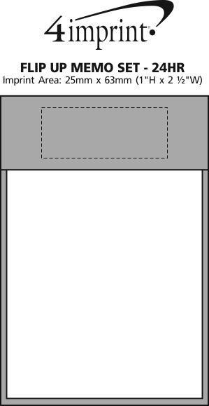 Imprint Area of Flip Up Memo Set - 24 hr