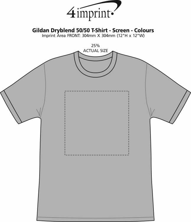 Imprint Area of Gildan DryBlend 50/50 T-Shirt - Screen - Colours