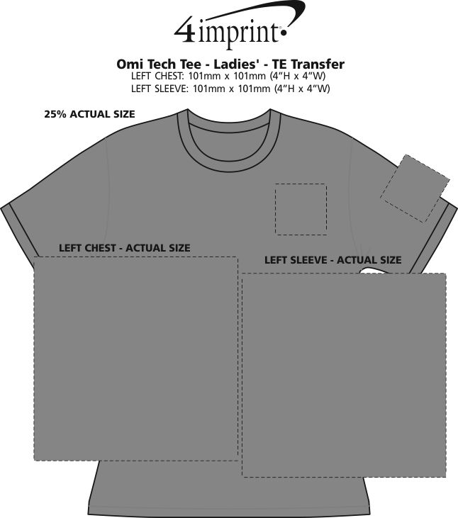 Imprint Area of Omi Tech Tee - Ladies' - TE Transfer
