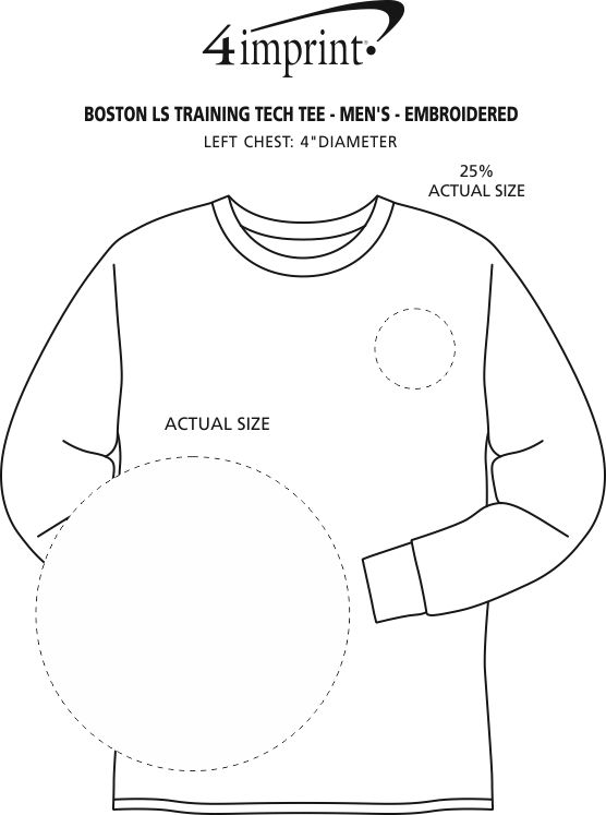 Imprint Area of Boston Long Sleeve Training Tech Tee - Men's - Embroidered