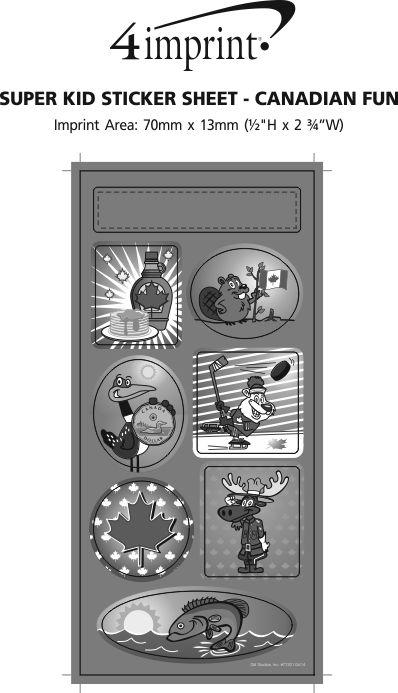 Imprint Area of Super Kid Sticker Sheet - Canadian Fun