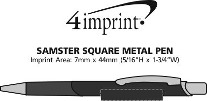 Imprint Area of Samster Square Metal Pen - Laser Engraved