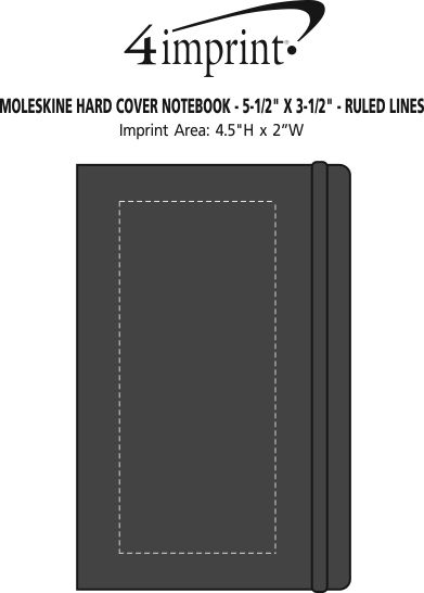 "Imprint Area of Moleskine Hard Cover Notebook - 5-1/2"" x 3-1/2"" - Ruled Lines"