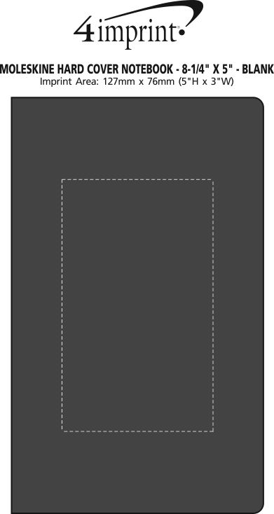 "Imprint Area of Moleskine Hard Cover Notebook - 8-1/4"" x 5"" - Blank"