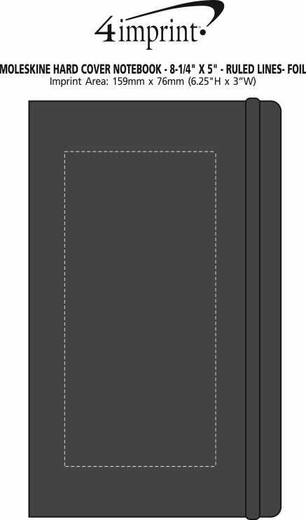 "Imprint Area of Moleskine Hard Cover Notebook - 8-1/4"" x 5"" - Ruled - Foil Stamp"