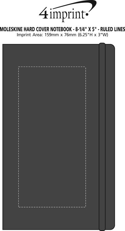 "Imprint Area of Moleskine Hard Cover Notebook - 8-1/4"" x 5"" - Ruled Lines"