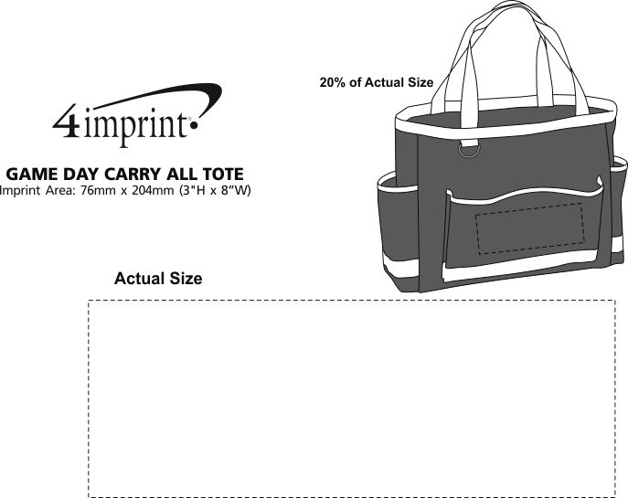 Imprint Area of Game Day Carry All Tote