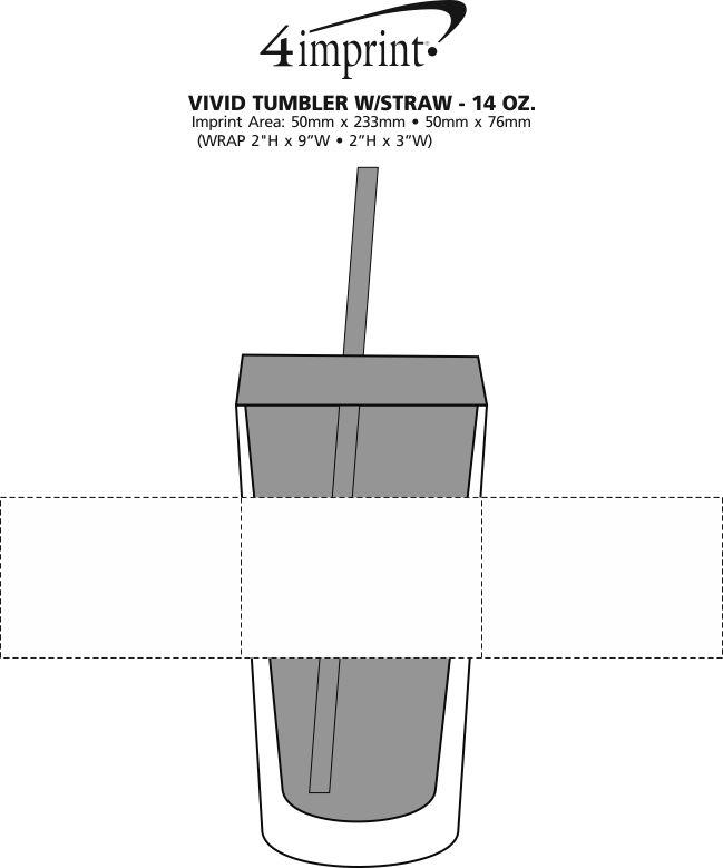 Imprint Area of Vivid Tumbler with Straw - 14 oz.