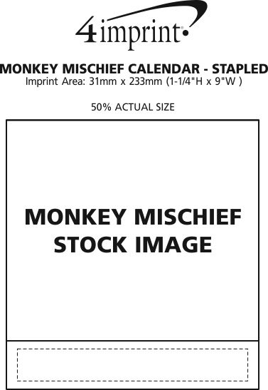 Imprint Area of Monkey Mischief Appointment Calendar - Stapled