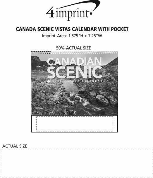 Imprint Area of Canada Scenic Vistas Calendar with Pocket
