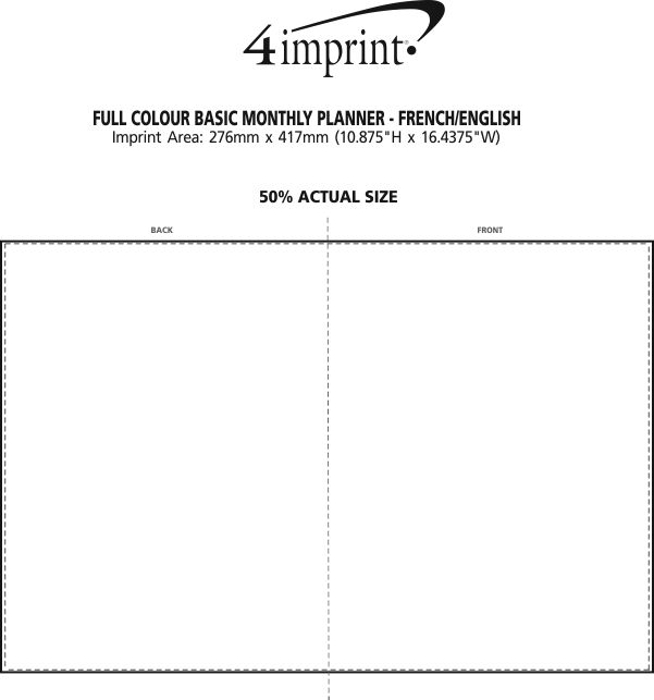 Imprint Area of Full Colour Basic Monthly Planner - French/English