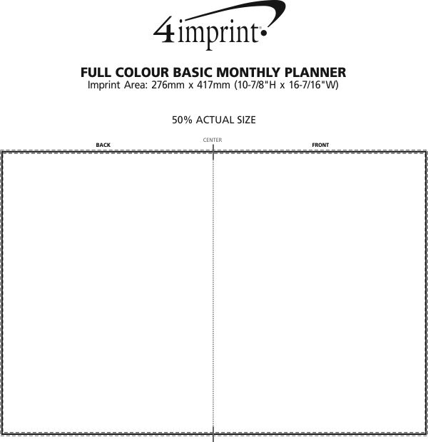 Imprint Area of Full Colour Basic Monthly Planner