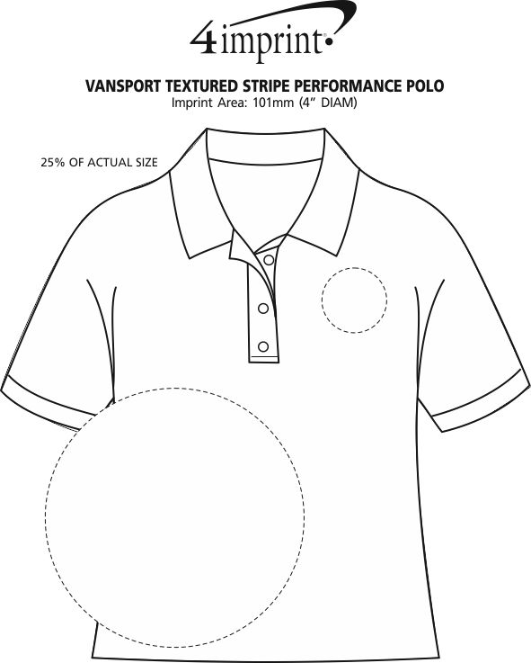 Imprint Area of Vansport Textured Stripe Performance Polo - Closeout