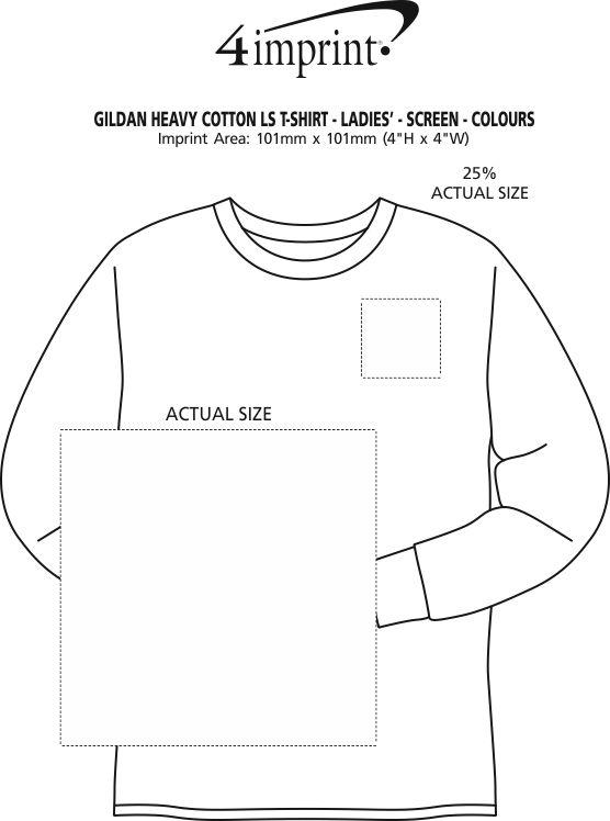 Imprint Area of Gildan Heavy Cotton LS T-Shirt - Ladies' - Screen - Colours