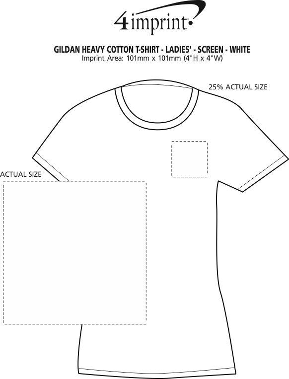 Imprint Area of Gildan Heavy Cotton T-Shirt - Ladies' - Screen - White