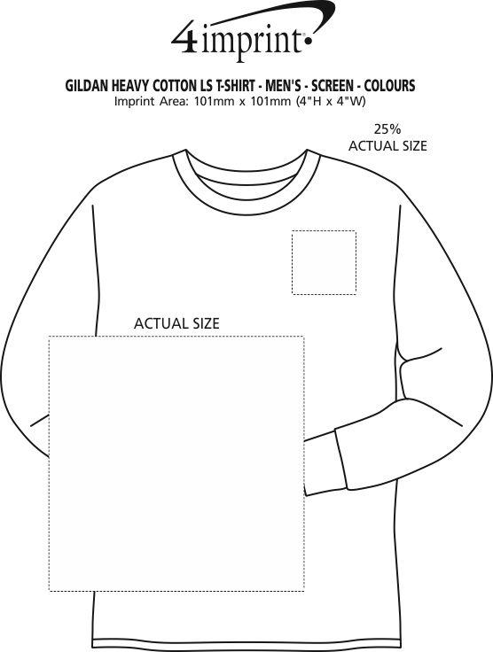 Imprint Area of Gildan Heavy Cotton LS T-Shirt - Men's - Screen - Colours