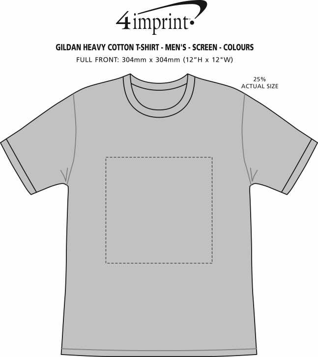 Imprint Area of Gildan Heavy Cotton T-Shirt - Men's - Screen - Colours