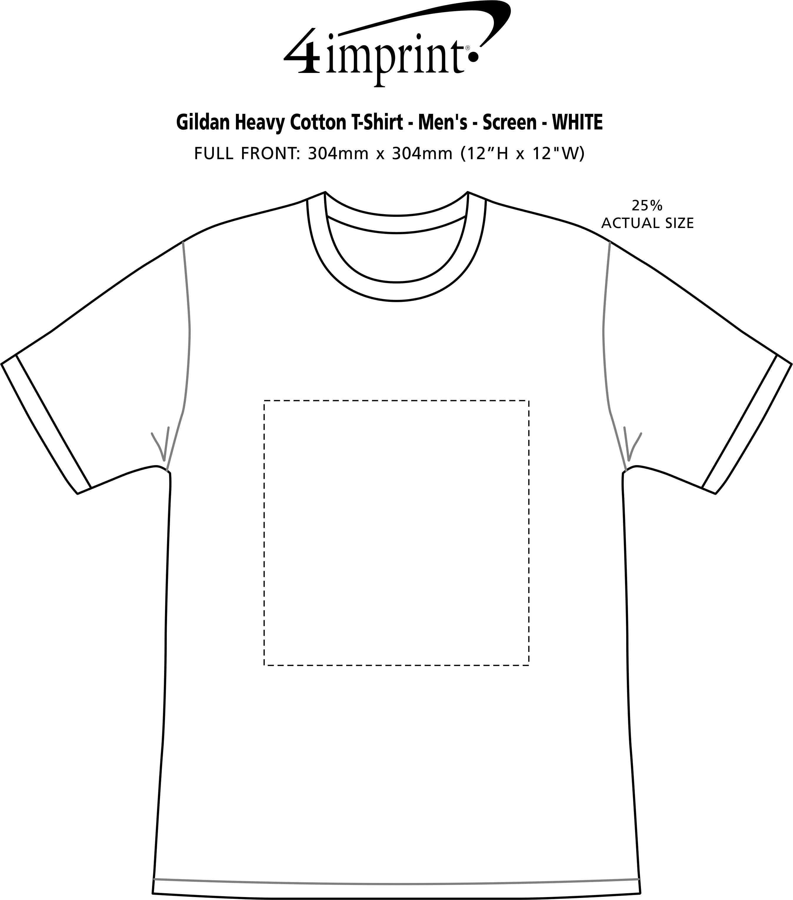 Imprint Area of Gildan Heavy Cotton T-Shirt - Men's - Screen - White