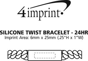 Imprint Area of Silicone Twist Bracelet - 24 hr