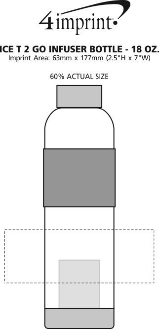 Imprint Area of Ice T 2 Go Infuser Bottle - 18 oz.