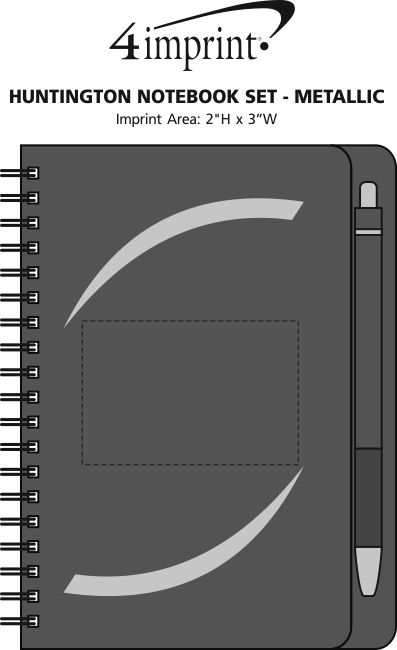 Imprint Area of Huntington Notebook Set - Metallic