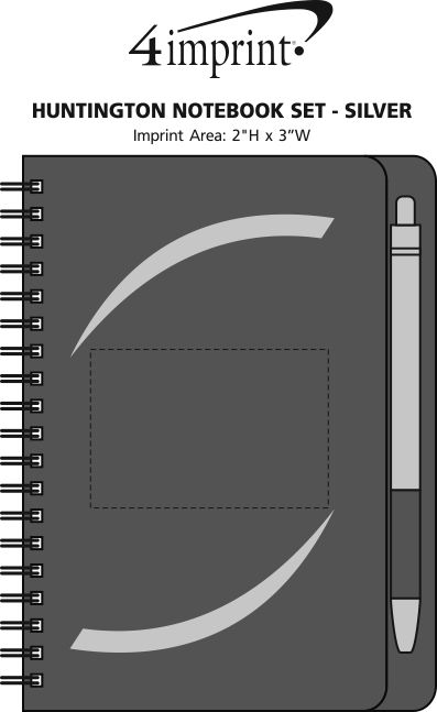Imprint Area of Huntington Notebook Set - Silver