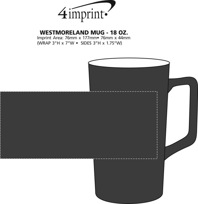 Imprint Area of Westmoreland Mug - 18 oz.