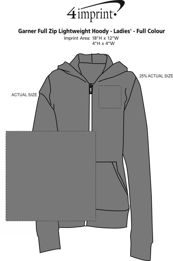 Imprint Area of Garner Full-Zip Lightweight Hoodie - Ladies' - Full Colour