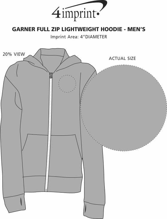 Imprint Area of Garner Full-Zip Lightweight Hoodie - Men's - Embroidered