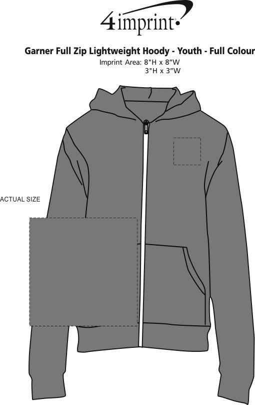 Imprint Area of Garner Full-Zip Lightweight Hoodie - Youth - Full Colour